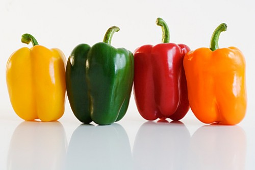 Multi-colored bell peppers, close-up
